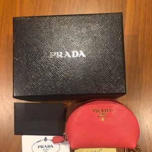 Prada coral pink saffiano leather pouch with box